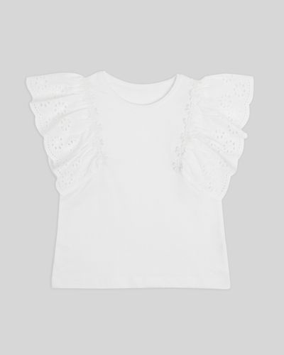 Girls Broderie Frill Top (2-8 years)