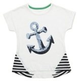 white Younger Girls Anchor Sequin Top