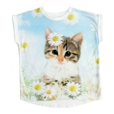 white Younger Girls Cat T-Shirt