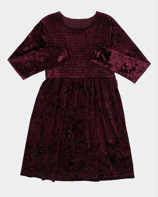 Shirred Velour Dress (7 - 14 years)