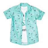 green Boys Short-Sleeved Printed Shirt And T-Shirt