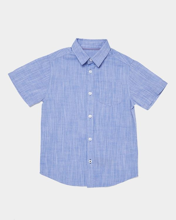 Boys Short-Sleeved Cotton Slub Shirt (3-14 years)