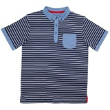 navy Older Boys Striped Chambray Polo Shirt