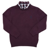 wine Younger Boys Crew-Neck Mock-Shirt Jumper