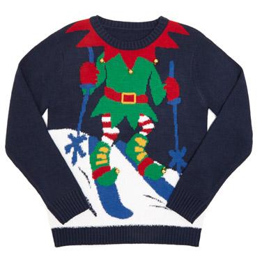 navyYounger Boys Elf Christmas Jumper