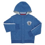 blue Younger Boys Button Hoodie
