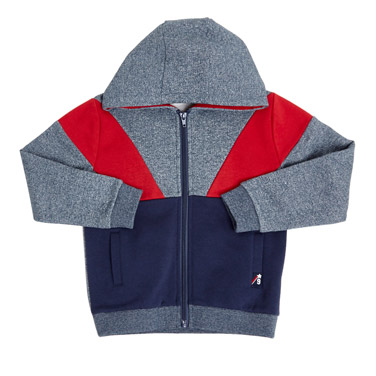 navy Younger Boys Cut And Sew Panel Hoodie