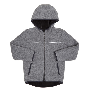 charcoal Younger Boys Fleece Zip Through Jumper With Hood