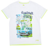 white Boys Miami Print T-Shirt