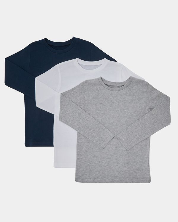 Boys Plain Long-Sleeved Top - Pack Of 3 (3-14 years)