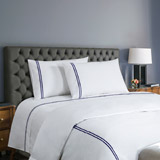 navy Francis Brennan the Collection Navy Embroidered Double Stripe Sheet