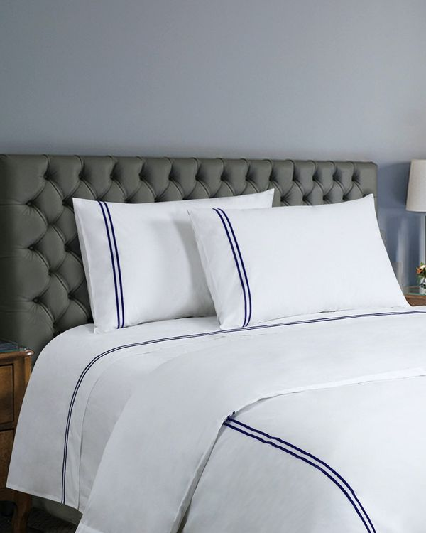 Francis Brennan the Collection Navy Embroidered Double Stripe Bed Sheet