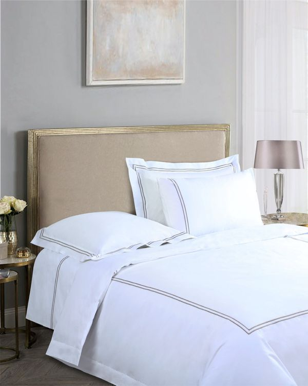 Francis Brennan the Collection Mink Double Stripe Flat Sheet