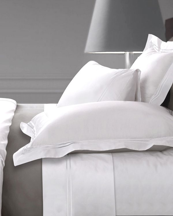 Francis Brennan the Collection White Double Stripe Flat Sheet