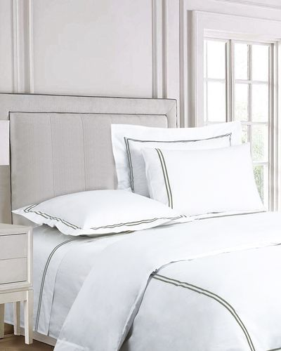 Francis Brennan the Collection Sage Double Stripe Flat Sheet