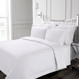 white Francis Brennan the Collection White Double Stripe Duvet Cover
