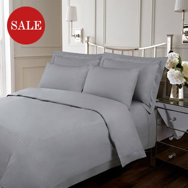 Francis Brennan the Collection Grey Double Stripe Duvet Cover