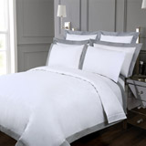 white Francis Brennan the Collection Contrast Pintuck Duvet Cover
