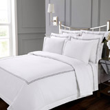 white Francis Brennan the Collection Double Stripe Duvet Cover