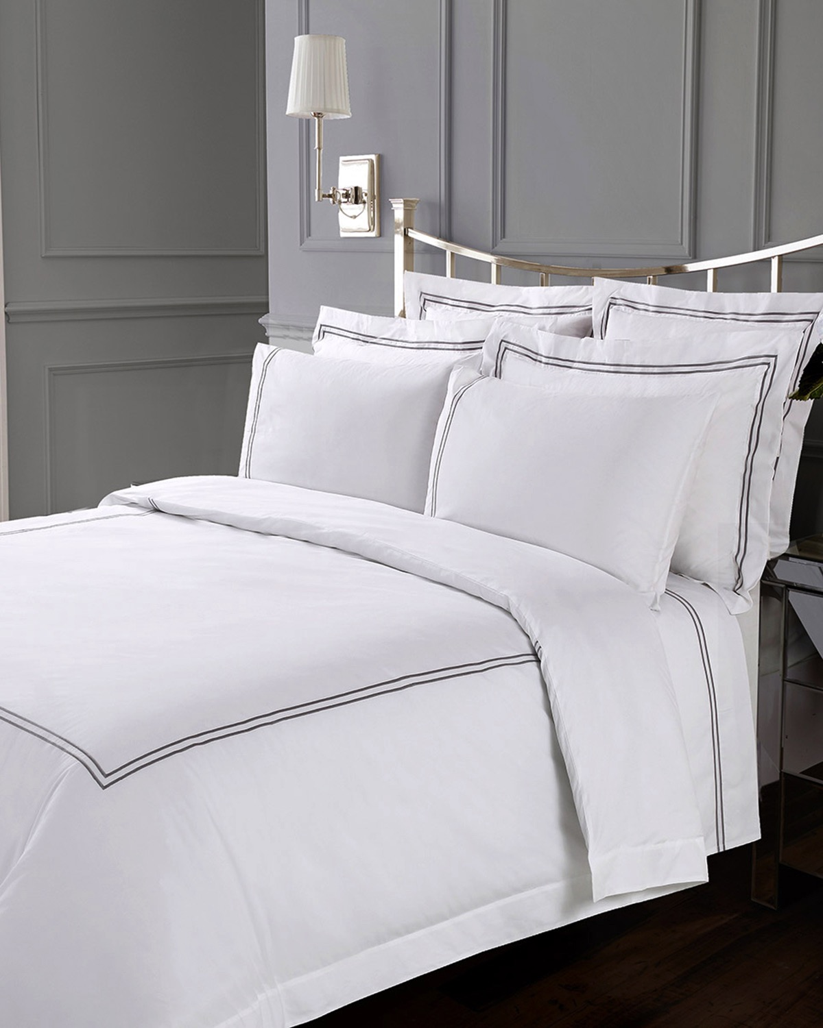 Dunnes Stores White Francis Brennan The Collection Double Stripe Duvet Cover