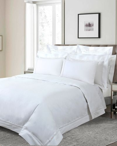 Francis Brennan the Collection White Pintuck Lattice Duvet Cover