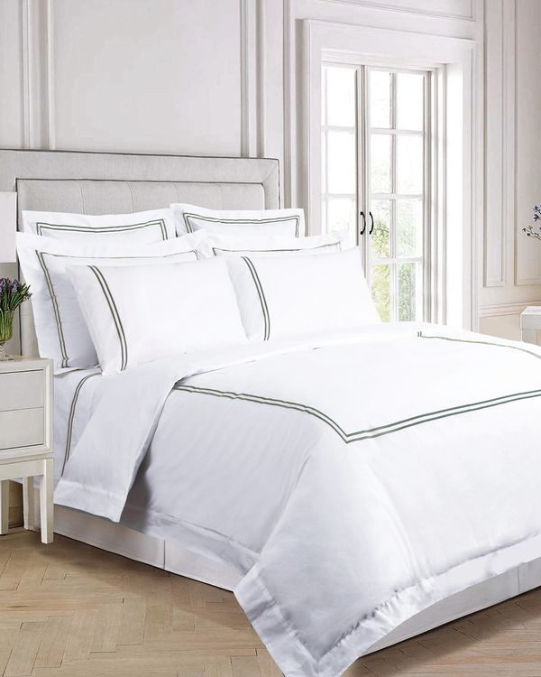 Francis Brennan the Collection Sage Double Stripe Duvet Cover