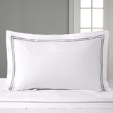 white Francis Brennan the Collection Double Stripe Oxford Pillowcase