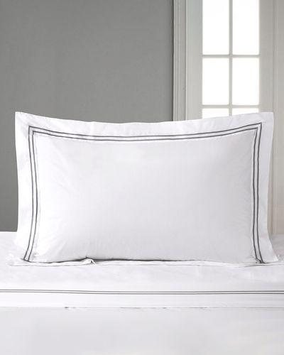 Francis Brennan the Collection Grey Double Stripe Oxford Pillowcase