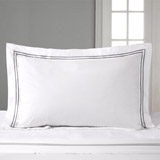 white Francis Brennan the Collection King Double Stripe Oxford Pillowcase