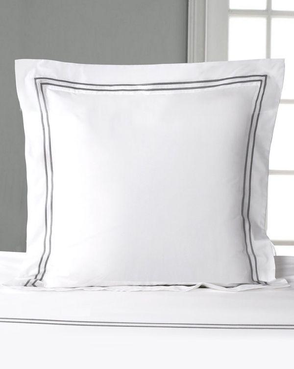 Francis Brennan the Collection Grey Euro Double Stripe Pillowcase