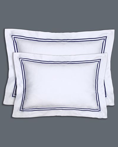 Francis Brennan the Collection King Navy Stripe Oxford Pillowcase