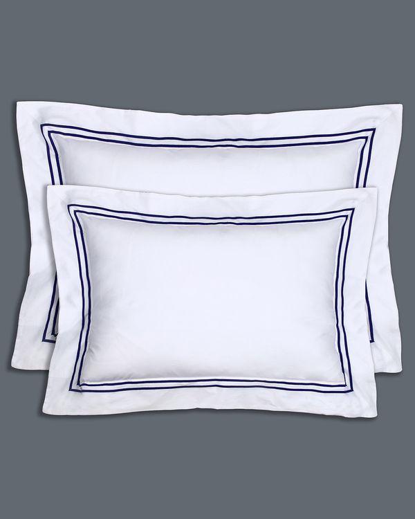 Francis Brennan the Collection King Navy Stripe Oxford Pillowcase