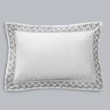 white Francis Brennan the Collection Embroidered Leaf Oxford Pillowcase
