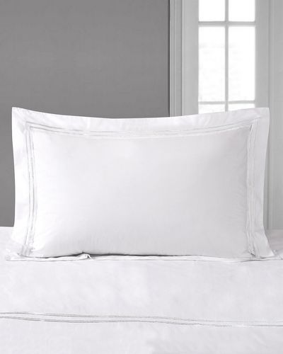 Francis Brennan the Collection White Stripe Oxford Pillowcase thumbnail