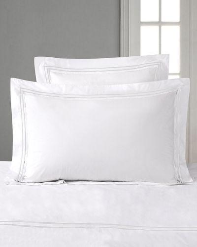 Francis Brennan the Collection White Double Stripe King Oxford Pillowcase thumbnail