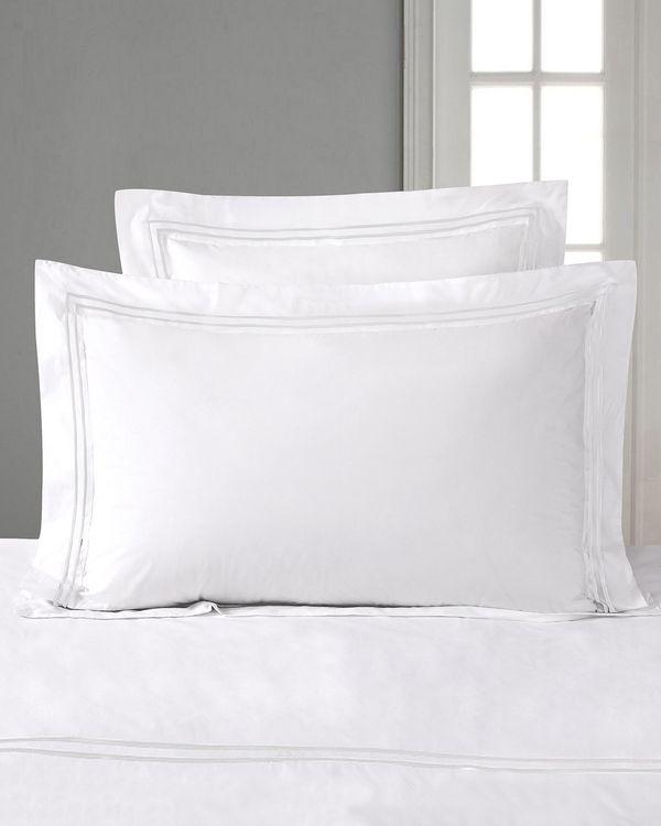 Francis Brennan the Collection White Double Stripe King Oxford Pillowcase