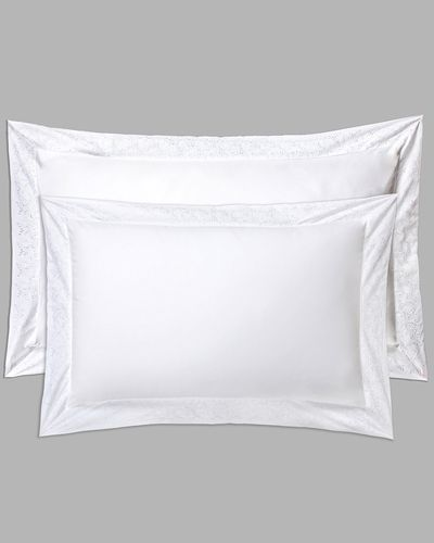 Francis Brennan the Collection White Embroidered Leaf King Oxford Pillowcase thumbnail