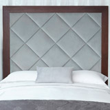 wood Francis Brennan the Collection Velvet and Mahogany Headboard