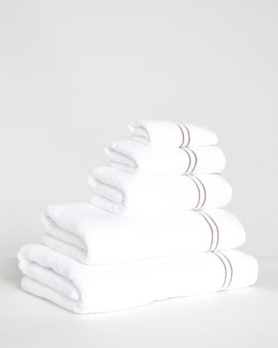 Francis Brennan the Collection Mink Double Stripe Embroidered Towel