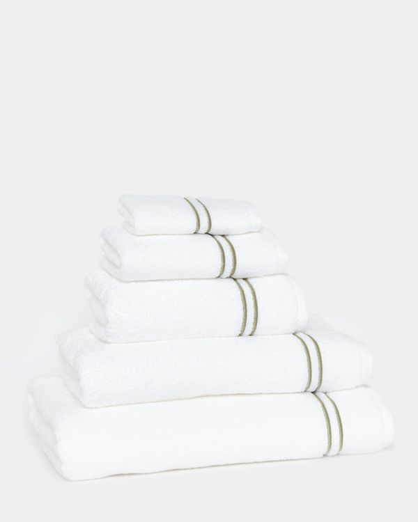 Francis Brennan the Collection Sage Double Stripe Towel
