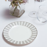 light-grey Francis Brennan the Collection Stripe Bone China Side Plate