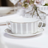 light-grey Francis Brennan the Collection Stripe China Soup Bowl With Saucer