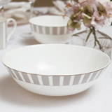 light-grey Francis Brennan the Collection Stripe Bone China Serving Bowl