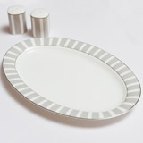 light-grey Francis Brennan the Collection Stripe Bone China Oval Platter