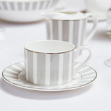light-grey Francis Brennan the Collection Stripe Bone China Teacup And Saucer
