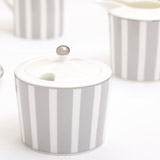 light-grey Francis Brennan the Collection Stripe Sugar Bowl And Lid