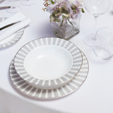 light-grey Francis Brennan the Collection Stripe Pasta Bowl