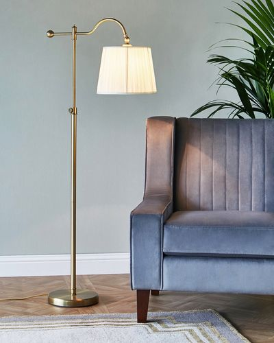 Francis Brennan the Collection Gold Floor Lamp With Silk Shade thumbnail