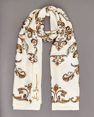Francis Brennan the Collection Ivory Baroque Silk Scarf