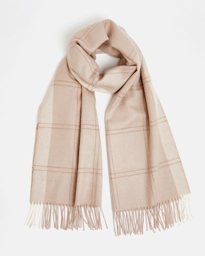 Francis Brennan the Collection Blush Check Alpaca Scarf
